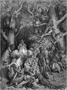 """Gustave Doré - Illustration zu """"Orlando Furioso"""" - gemeinfrei*"""