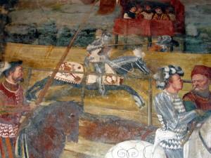 Il Romanino, Cristiano I di Danimarca assiste ad un torneo assieme a Bartolomeo Colleoni (1467). Dettaglio. Affresco del Castello di Malpaga, già di Bartolomeo Colleoni. Foto di Giorces